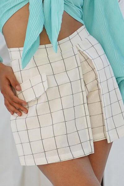 Льняные шорты с высокой талией MY19829, фото 1 - в интеренет магазине KAPSULA
