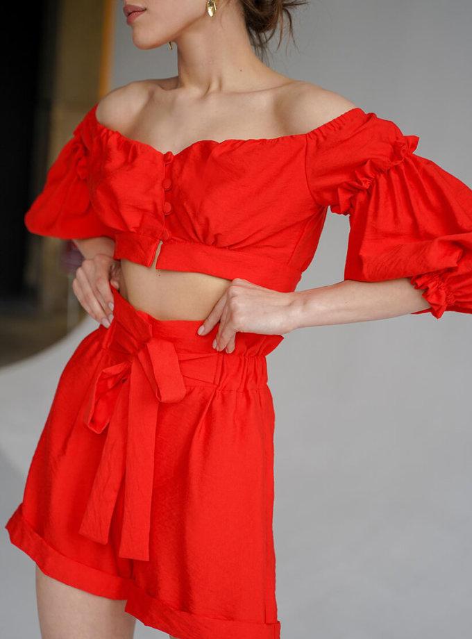 Льняной костюм с шортами Aveira MY3719-1, фото 1 - в интернет магазине KAPSULA