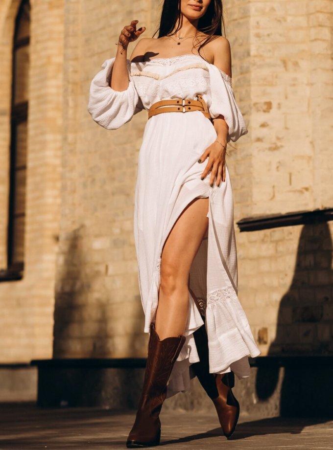 Хлопковое платье с бежевым кружевом и разрезами AY-2694.2, фото 1 - в интернет магазине KAPSULA