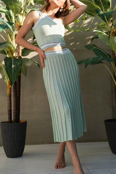 Хлопковый костюм с юбкой плиссе JDW_J.D.1103, фото 2 - в интеренет магазине KAPSULA