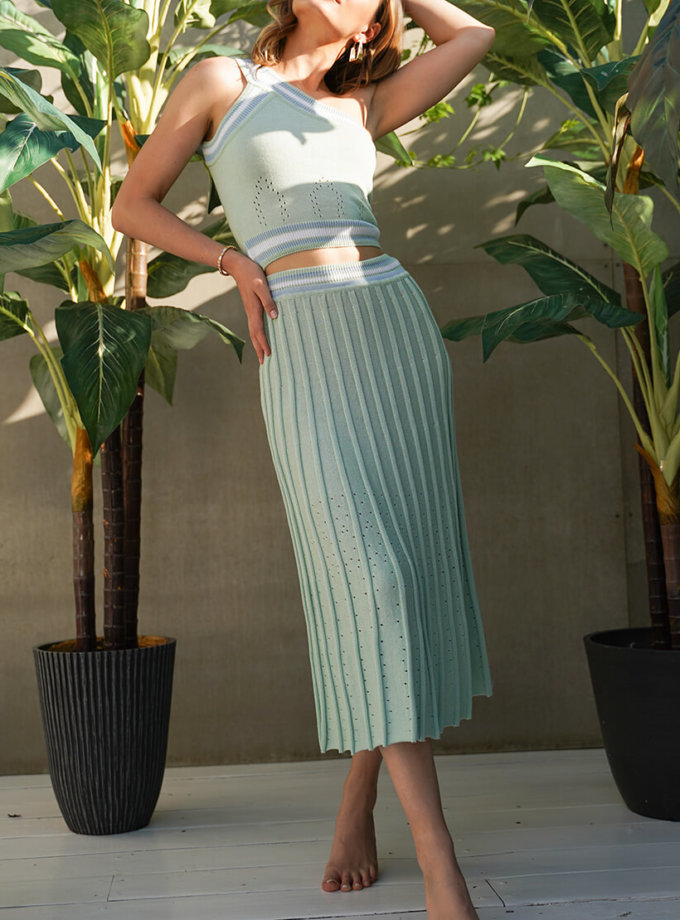 Хлопковый костюм с юбкой плиссе JDW_J.D.1103, фото 1 - в интернет магазине KAPSULA