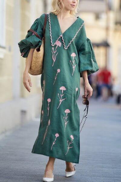 Льняное платье с вышивкой Beautiful Beatrice ZHPN_BB_SS20_Green, фото 1 - в интеренет магазине KAPSULA