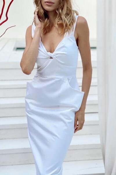 Платье на бретелях с вышивкой в тон KS_SS-22-38, фото 1 - в интеренет магазине KAPSULA