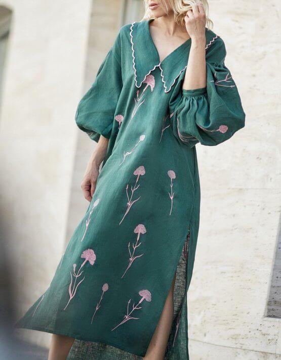 Льняное платье с вышивкой Beautiful Beatrice ZHPN_BB_SS20_Green, фото 7 - в интеренет магазине KAPSULA