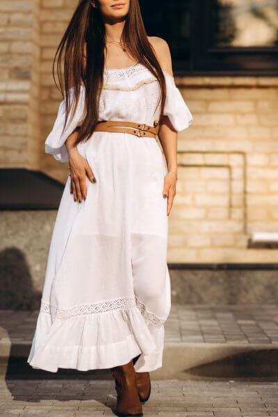 Хлопковое платье с бежевым кружевом и разрезами AY-2694.2, фото 7 - в интеренет магазине KAPSULA