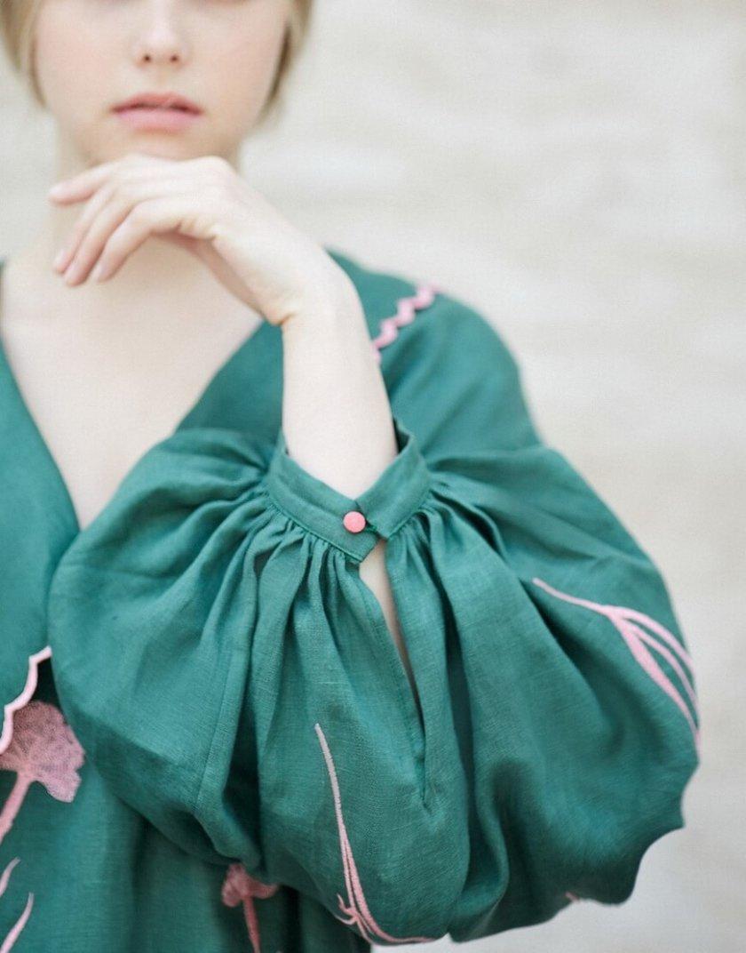 Льняное платье с вышивкой Beautiful Beatrice ZHPN_BB_SS20_Green, фото 1 - в интернет магазине KAPSULA