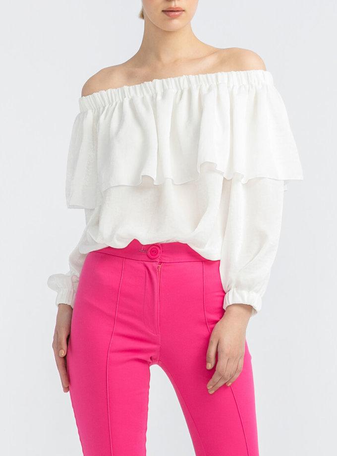 Блуза с воланом на плечах ALOT_020167, фото 1 - в интеренет магазине KAPSULA