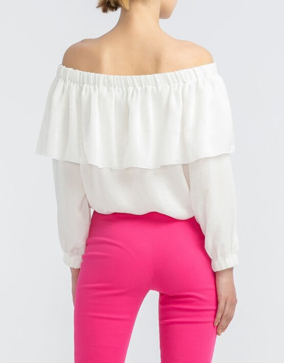 Блуза с воланом на плечах ALOT_020167, фото 3 - в интеренет магазине KAPSULA