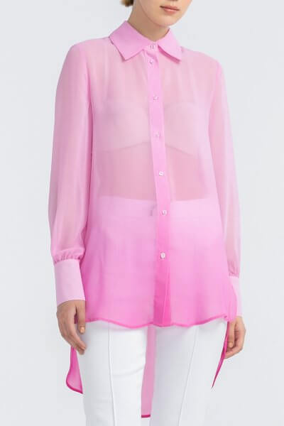 Удлиненная рубашка из шифона ALOT_020169, фото 3 - в интеренет магазине KAPSULA