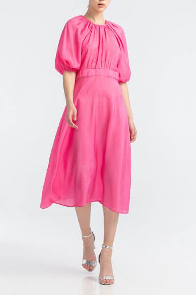 Платье миди с рукавом-буф ALOT_100405, фото 4 - в интеренет магазине KAPSULA