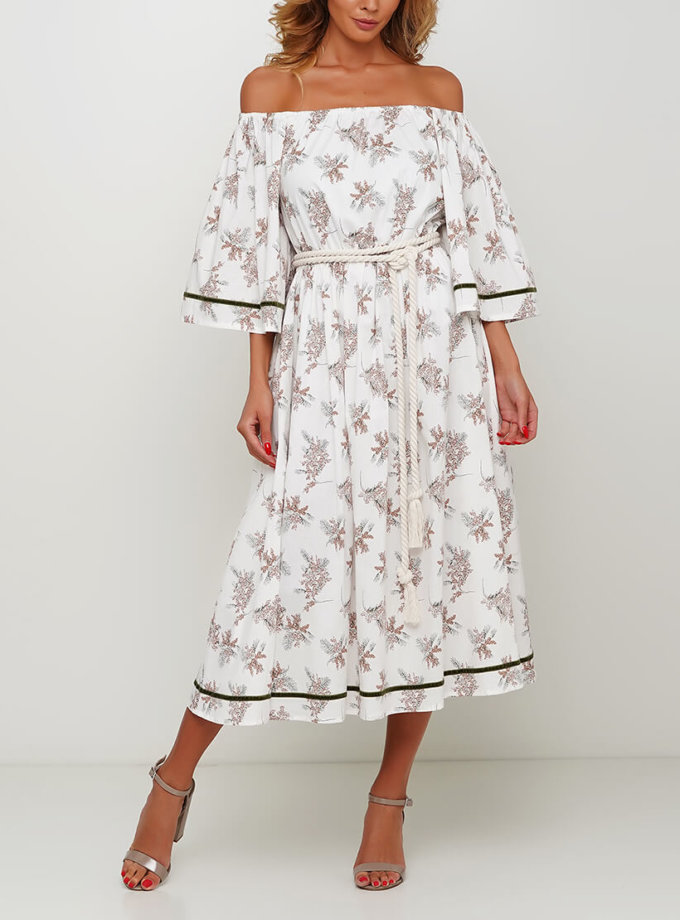 Хлопковое платье с открытыми плечами AY_2995, фото 1 - в интеренет магазине KAPSULA
