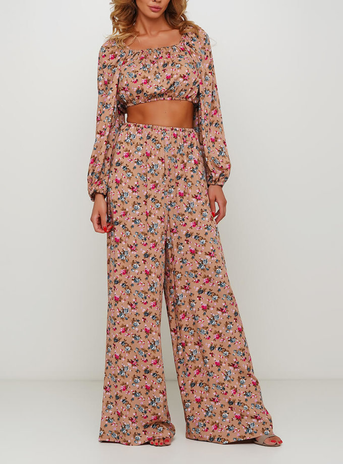 Легкие брюки в цветочный принт AY_2998, фото 1 - в интеренет магазине KAPSULA