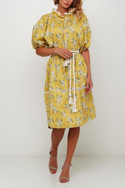 Объёмное платье с кружевом из хлопка AY_3003, фото 1 - в интеренет магазине KAPSULA