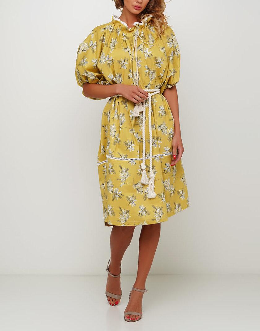Объёмное платье с кружевом из хлопка AY_3003, фото 1 - в интернет магазине KAPSULA
