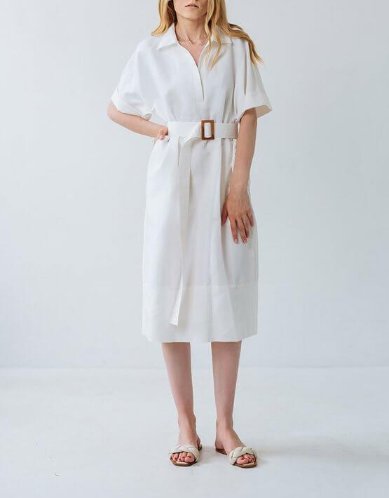 Платье из льна прямого кроя FBSL_SS20_01, фото 3 - в интеренет магазине KAPSULA