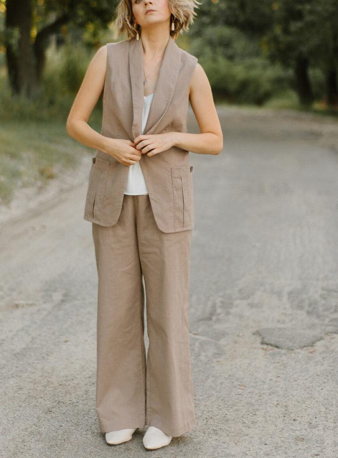 Льняные брюки на резинке MNTK_MTS20TR10, фото 1 - в интеренет магазине KAPSULA