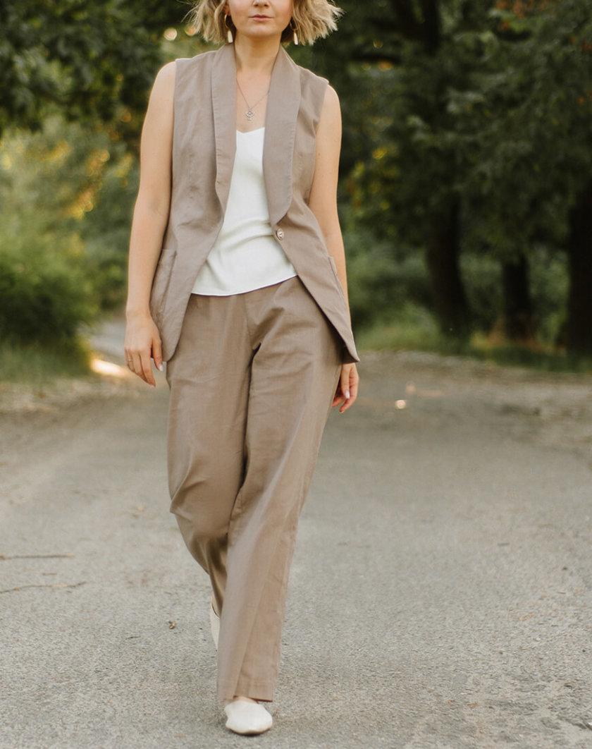 Льняные брюки на резинке MNTK_MTS20TR10, фото 1 - в интернет магазине KAPSULA