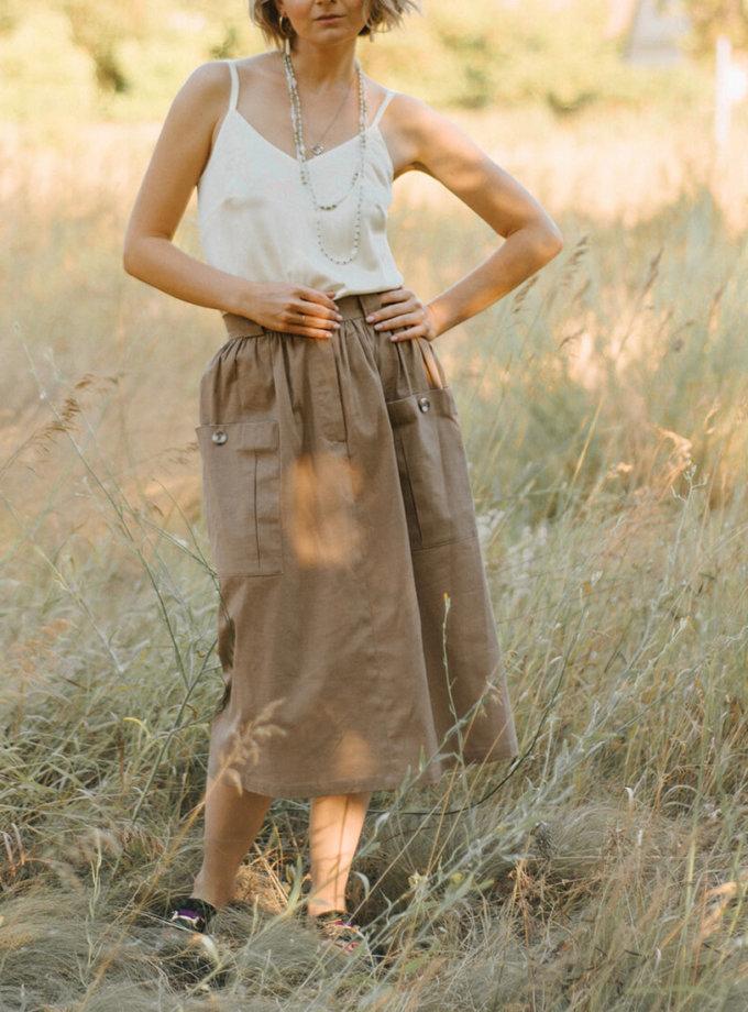 Льняная юбка с накладными карманами MNTK_MTS20SK9, фото 1 - в интернет магазине KAPSULA
