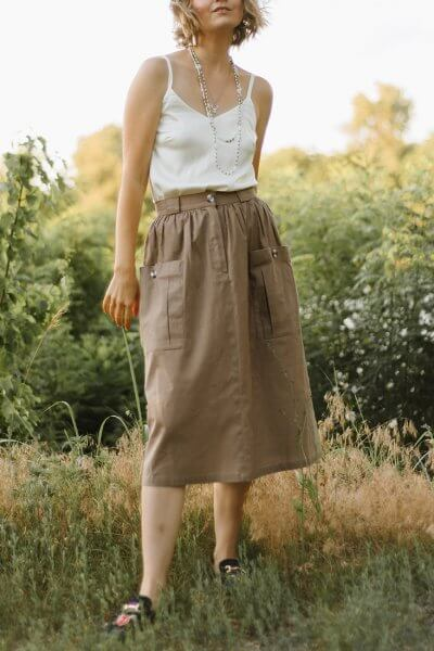 Льняная юбка с накладными карманами MNTK_MTS20SK9, фото 3 - в интеренет магазине KAPSULA