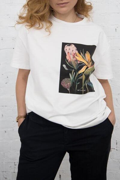 Хлопковая футболка The garden in black LSRK_1-433-U-MK-ONE, фото 1 - в интеренет магазине KAPSULA