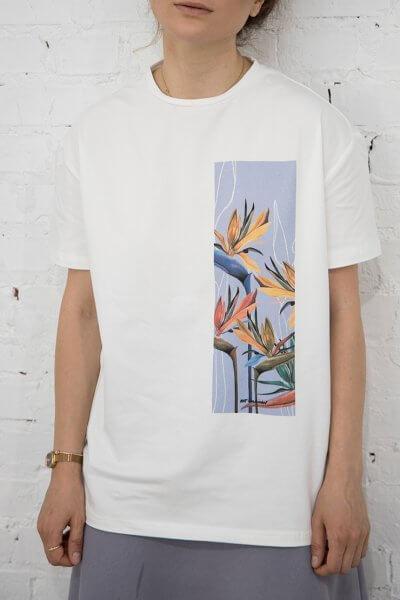 Хлопковая футболка Strelitzia composition LSRK_1-492-U-MK-ONE, фото 1 - в интеренет магазине KAPSULA