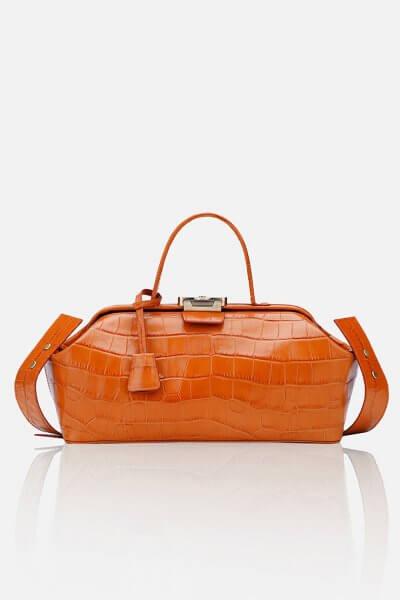 Кожаная сумка-саквояж BAGUETTE GR_BC_BGT_OR_CROCCO, фото 1 - в интеренет магазине KAPSULA