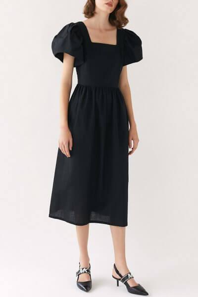 Льняное платье Jane черное MRCH_MO-02-K_outlet-1, фото 1 - в интеренет магазине KAPSULA