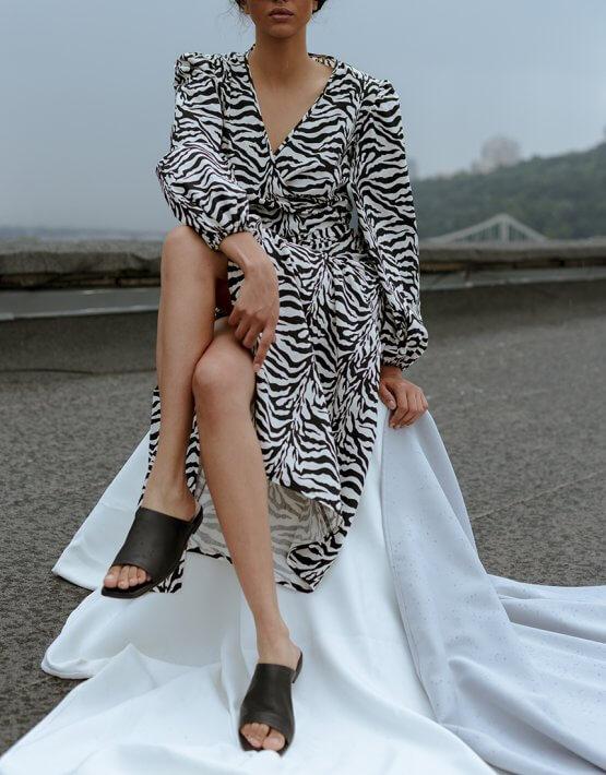 Платье на запах из хлопка NM_391, фото 4 - в интеренет магазине KAPSULA