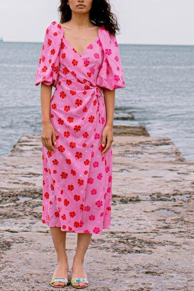 Платье на запах в принт SAYYA_SS1018-1, фото 1 - в интеренет магазине KAPSULA