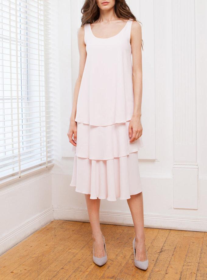 Платье миди с  рюшами SHKO_17011002_outlet, фото 1 - в интернет магазине KAPSULA