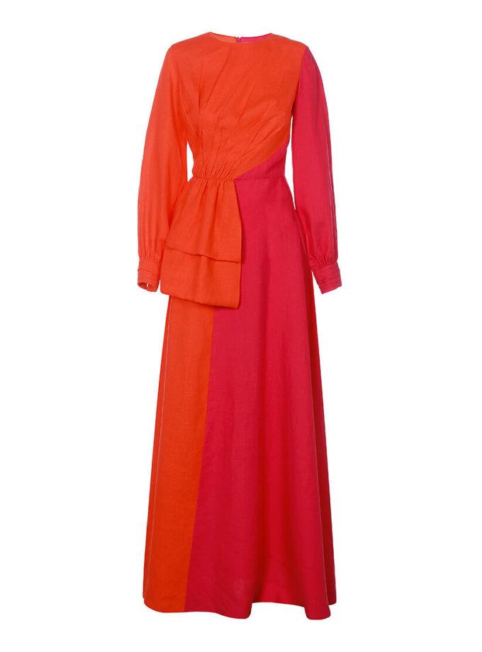 Двухцветное платье из льна ARS_SS20_3, фото 1 - в интернет магазине KAPSULA