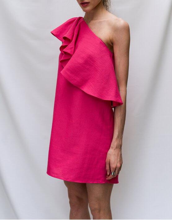 Платье на одно плечо из льна TF_T2.02, фото 4 - в интеренет магазине KAPSULA