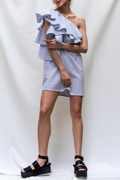 Платье на одно плечо из льна TF_T2.01-white, фото 1 - в интеренет магазине KAPSULA