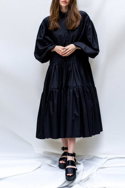 Черное платье с рукавами буфами TF_TAMAR_18, фото 1 - в интеренет магазине KAPSULA