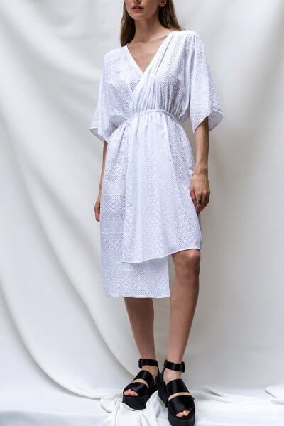Платье на запах с вышивкой ришелье TF_TAMAR_5, фото 1 - в интеренет магазине KAPSULA