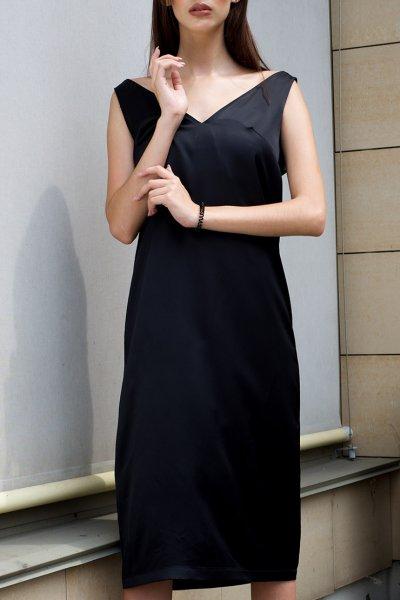 Черное платье свободного кроя TF_Tam_43, фото 3 - в интеренет магазине KAPSULA