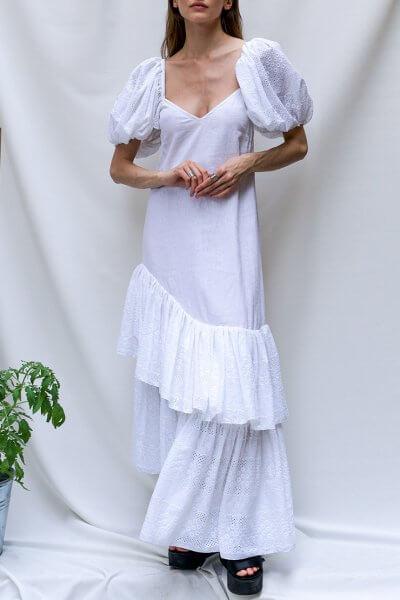 Льняное платье макси с воланами TF_Tam_45, фото 1 - в интеренет магазине KAPSULA