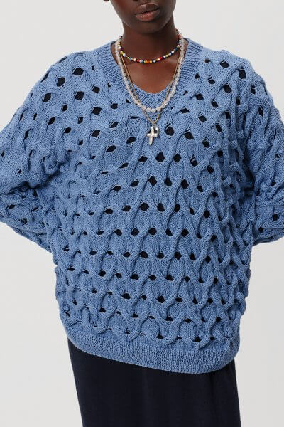 Фактурный свитер из хлопка KNIT_20014, фото 3 - в интеренет магазине KAPSULA