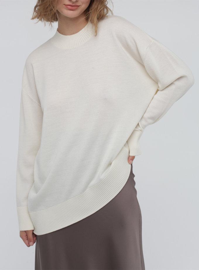 Ассиметричный джемпер из мериносовой шерсти MISS_PU-017-white, фото 1 - в интернет магазине KAPSULA