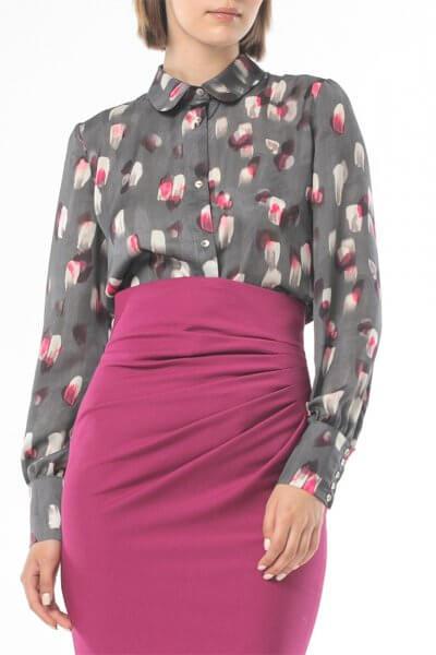 Блуза в принт с широкими манжетами ALOT_020208, фото 4 - в интеренет магазине KAPSULA