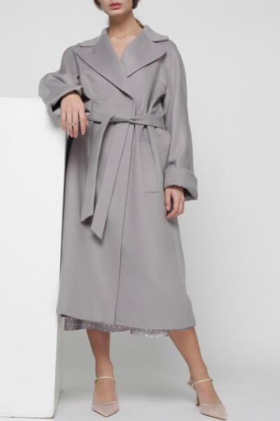 Пальто на запах из кашемира MISS_JA-010-grey-coat, фото 4 - в интеренет магазине KAPSULA