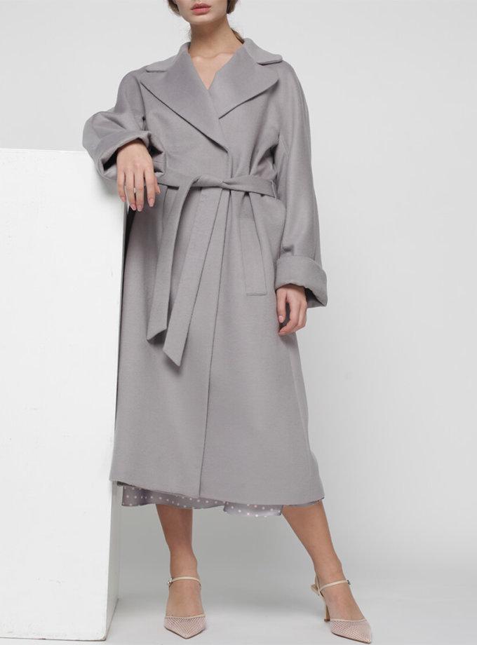 Пальто на запах из шерсти MISS_JA-010-grey-coat, фото 1 - в интеренет магазине KAPSULA
