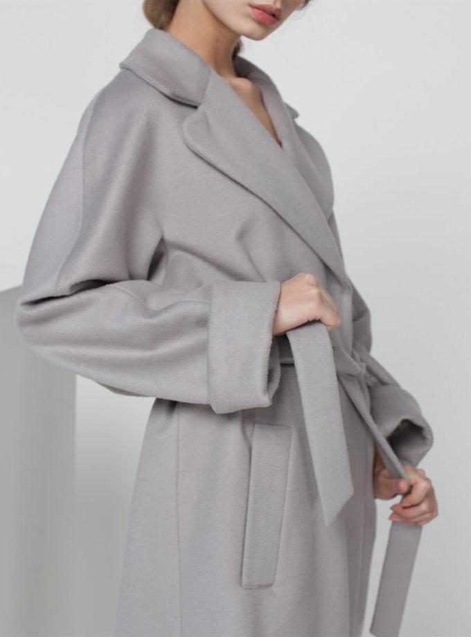 Пальто на запах из шерсти MISS_JA-010-grey-coat, фото 1 - в интернет магазине KAPSULA