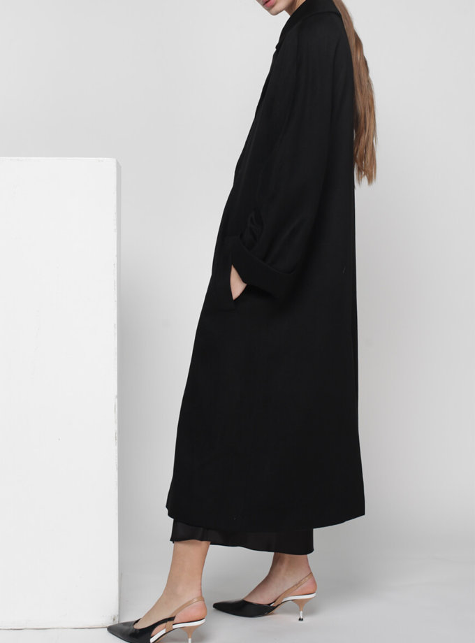 Пальто на запах из шерсти MISS_JA-010-black-coat, фото 1 - в интеренет магазине KAPSULA
