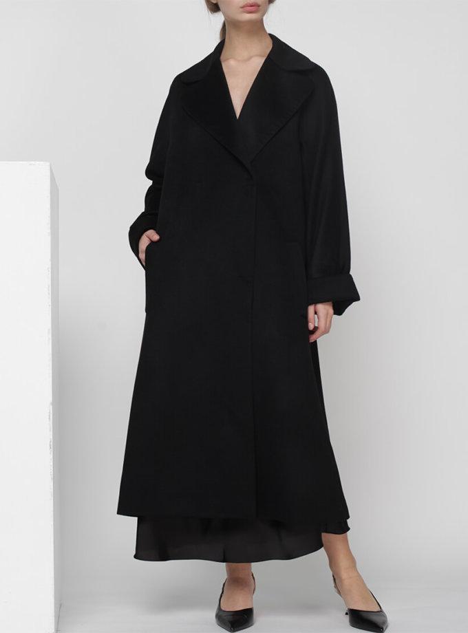 Пальто на запах из шерсти MISS_JA-010-black-coat, фото 1 - в интернет магазине KAPSULA