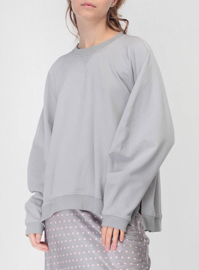 Хлопковый свитшот с объемным рукавом MISS_PU-018-grey, фото 1 - в интеренет магазине KAPSULA