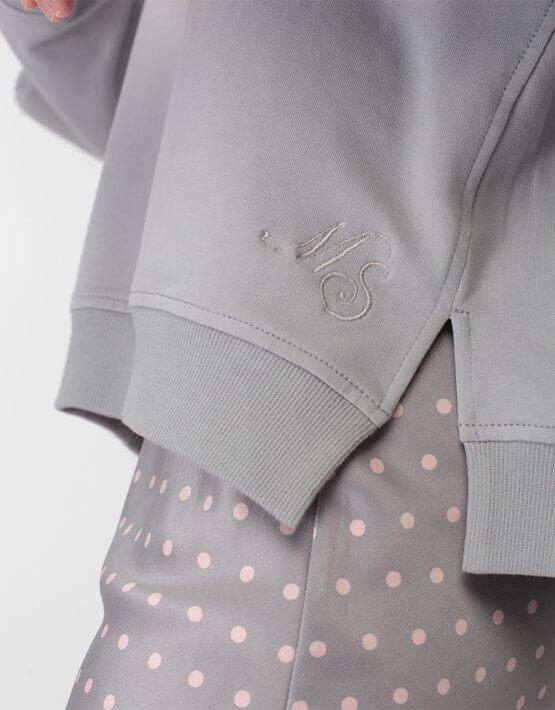 Хлопковый свитшот с объемным рукавом MISS_PU-018-grey, фото 6 - в интеренет магазине KAPSULA