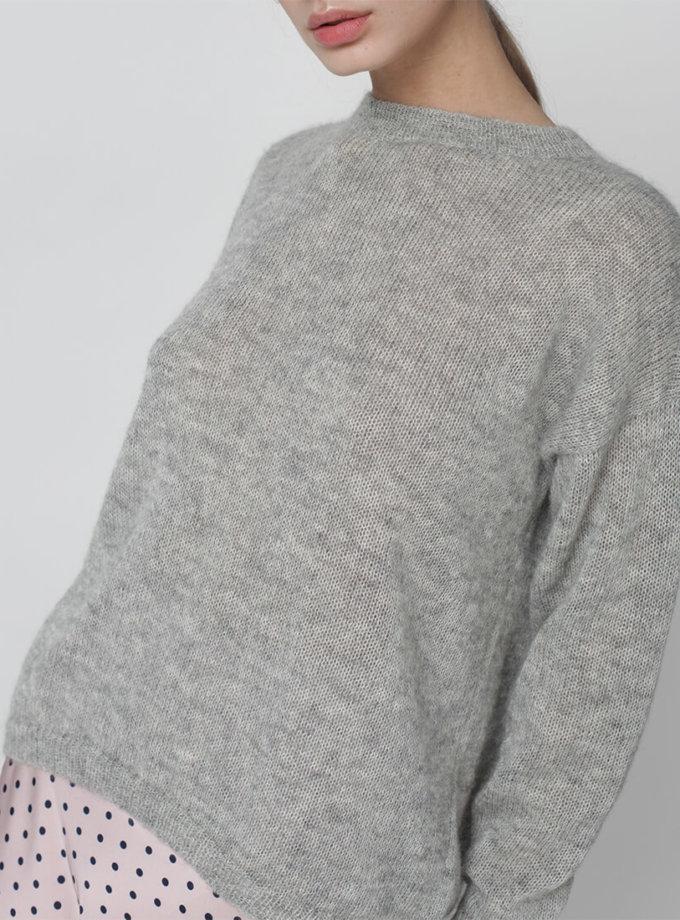 Тонкий джемпер из мохера MISS_PU-013-grey, фото 1 - в интеренет магазине KAPSULA