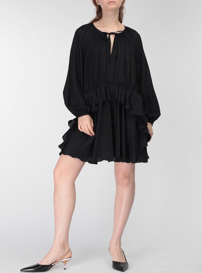 Шелковое платье с воланом MISS_DR-023-black-mini, фото 1 - в интеренет магазине KAPSULA