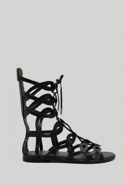 Кожаные высокие сандалии Greta NZR_Greta-black, фото 1 - в интеренет магазине KAPSULA